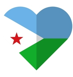 Djibouti flat heart flag vector