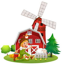 Farmer in the farm with sheep and chickens vector