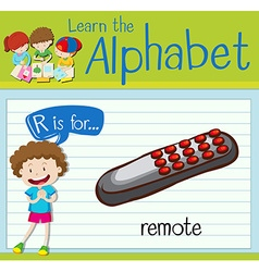 Flashcard letter R is for remote vector image vector image