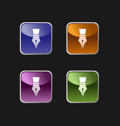 Fountain pen icon on colored square buttons vector