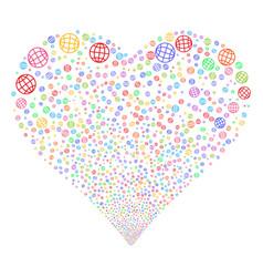 Globe fireworks heart vector