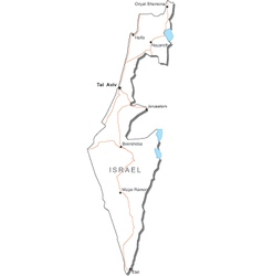 Israel black white map vector