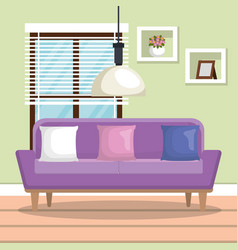 living room scene icon vector image