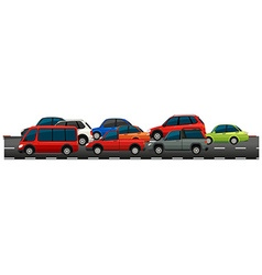 Many cars on the road vector image