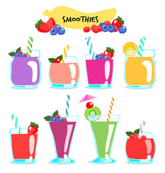 many kind of healthy and delicious smoothies vector image vector image