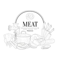 Meat vintage sketch vector