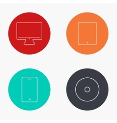 modern gadget colorful icons set vector image