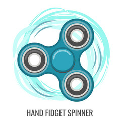 moving hand fidget spinner color blue toy vector image