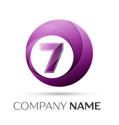Number seven logo symbol in the colorful circle on vector