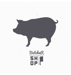 Pig silhouette Pork meat Butcher shop logo vector image