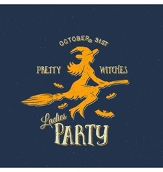 Pretty witches ladies party halloween label vector