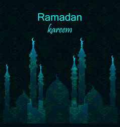 Ramadan greetings card view of mosque in night vector