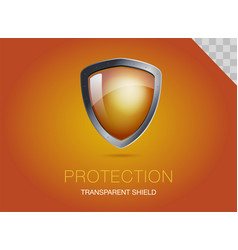 Realistic metal shield with transparent armored vector