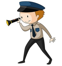 Security guard holding flashlight vector