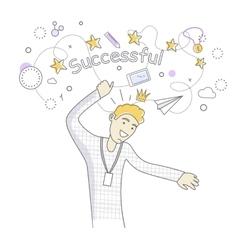 Successful man dancing vector