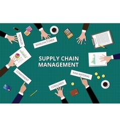 Supply chain management team work together on top vector