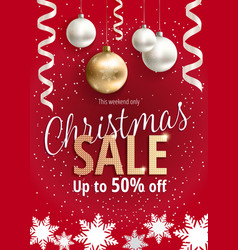 the christmas sale red banner for web or flyer vector image