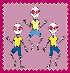 Three skulls dancing vector
