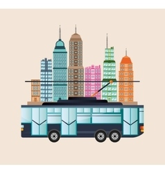 Tram vehicle and transportation design vector
