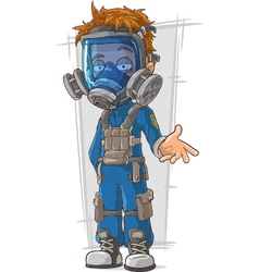 Cartoon cool guy in blue gas mask vector