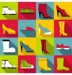 Footwear icons set flat style vector