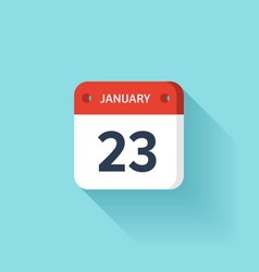 January 23 isometric calendar icon with shadow vector