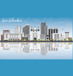 San salvador skyline with gray buildings blue sky vector