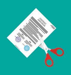 Scissors cutting contract vector