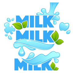 Milk splash lettering composition for your logo l vector