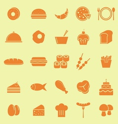 Food color icons on yellow background vector