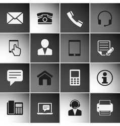 Contact icons set vector