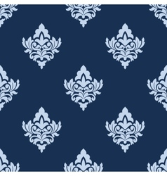 Pretty blue damask style arabesque pattern vector image