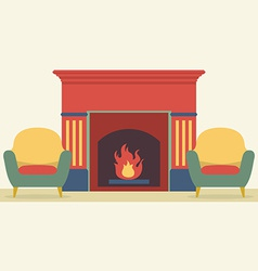 Sofas and fireplace living room interior vector