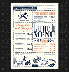 Retro frame restaurant lunch menu design layout vector