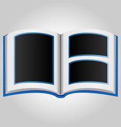 Blue book with blank photo frames vector