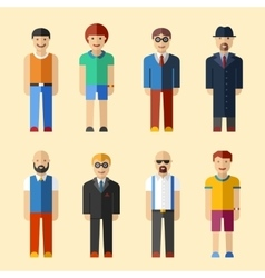 Male figure avatars flat style icons vector