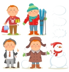 Winter holidays set of cartoon men vector