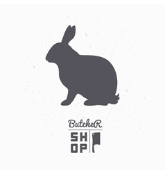 Hare silhouette rabbit meat butcher shop logo vector