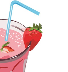 strawberry milkshakes vector image