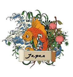 Japanese with koi fish vector