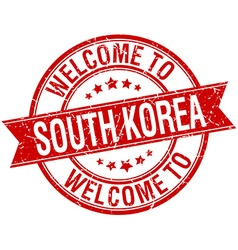 Welcome to south korea red round ribbon stamp vector