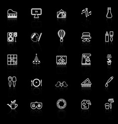 Art activity line icons with reflect on black vector image