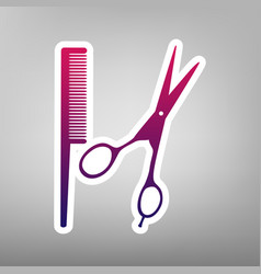 Barber shop sign purple gradient icon on vector