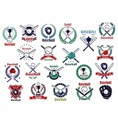 Baseball game sporting emblems and icons vector image vector image
