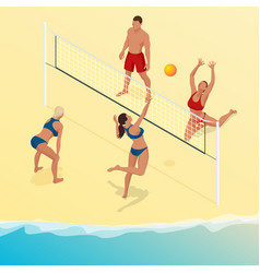 beach volley ball player jumps on the net and vector image vector image