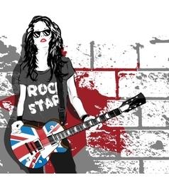 beautiful musician playing guitar vector image