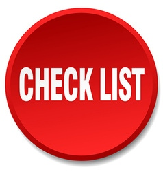 check list red round flat isolated push button vector image vector image