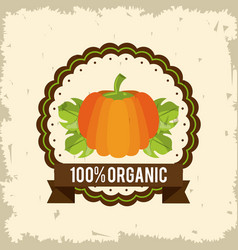 Colorful logo of organic food with pumpkin vector
