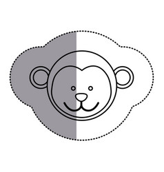 Contour face monkey icon vector