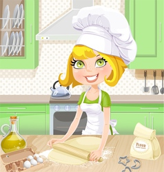 Cute blond girl baking cookies on kitchen vector